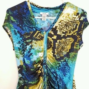 Cache Blue Ruched Front Animal Print